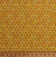 Cotton Mini Bees with Glitter Cute Sparkly Bumblebees on Yellow Cotton Fabric Print by the Yard (15566888)