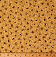 Cotton Bees Honeybees Bumblebees on Golden Honeycomb Honey Beehive Beekeeper Everyday Favorites Cotton Fabric Print by the Yard (AMKD-19128-138 HONEY)