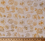 Cotton Honey Bee Bees Honeycomb Honey Pot Hive Skep Beekeepers Yellow Batik Cotton Fabric Print by the Yard (981Q-2)