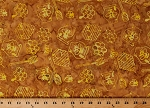 Cotton Honey Bee Bees Hive Honeycomb Skep Yellow Brown Batik Cotton Fabric Print by the Yard (981Q-1)