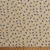 Cotton Bees All Bee Hive Honeycomb Honey Bee Beekeeper Buzz Flowers Floral About the Bees  Cotton Fabric Print by the Yard (2425-44)