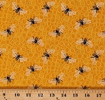 Cotton Bumble Bees Honey Honeycombs Bugs Yellow Cotton Fabric Print by the Yard (A-9433-Y)