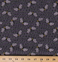 Cotton Bees Honeycombs Beehives Bumblebees on Gray Sunny Bee Cotton Fabric Print by the Yard (A-9433-C)