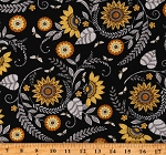 Cotton Bees Honeybees Flowers Sunflowers Floral Bee Grateful Black Cotton Fabric Print by the Yard (19961-14)