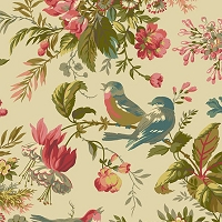Cotton Birds Floral Flowers Blooms Spring Cotton Fabric Print by the Yard (8750)