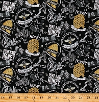 Cotton Bumble Bees Bumblebees All Natural Honey Honeycombs Farmer's Market Beehives Bee's Life Black Cotton Fabric Print by the Yard (C10100-BLACK)