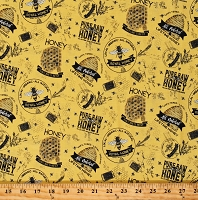 Cotton Bumble Bees Bumblebees All Natural Honey Honeycombs Farmer's Market Beehives Bee's Life Yellow Cotton Fabric Print by the Yard (C10100-HONEY)