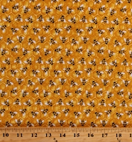 Cotton Bees Animals Insects Hives Show Me The Honey Yellow Cotton Fabric Print by the Yard (1341-44)