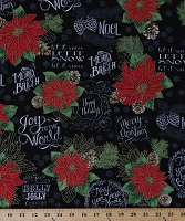 Cotton Christmas Wishes Quotes Sayings Poinsettias Flowers Snowflakes Holly Chalkboard-Look with Gold Metallic Shimmer on Black Cotton Fabric Print by the Yard (HOLIDAY-CM7058-BLACK)