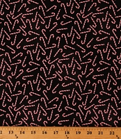 Cotton Candy Canes Tossed Christmas Candies on Black Winter Holiday Festive Cotton Fabric Print by the Yard (GAIL-C6885-BLACK)