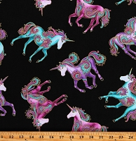 Cotton Unicorns All Over Magical Believe in Unicorns Black Cotton Fabric Print by the Yard (10391M-12)