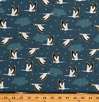Cotton Flying Birds Animals Clouds Metallic Gold Stars Blue Cotton Fabric Print by the Yard (A488-3)