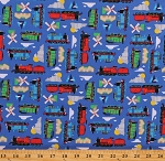 Cotton Trains Thomas The Train Cartoons Transportation Travel Cotton Fabric Print by the Yard (C11002)
