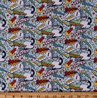 Cotton Super Hero Heroes Comic Book Look Conversation Bubbles Retro Blue Cotton Fabric Print by the Yard (C9000-BLUE)