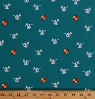 Cotton Tiny Dragons Medieval Fairytale Fantasy on Teal Magic Dragon Cotton Fabric Print by the Yard (CX7902-ISLE-D)