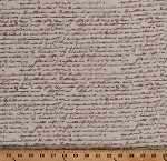 Cotton Script Calligraphy Writing Words Allover Beige Cotton Fabric Print by the Yard (4497-016)