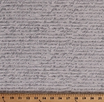 Cotton Script Calligraphy Writing Words Allover Gray Cotton Fabric Print by the Yard (4497-018)