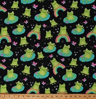 Cotton Cute Frogs Butterflies Rainbows Flowers Stars Kids on Black Cotton Fabric Print by the Yard (FUN-C6992-BLACK)