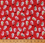 Cotton Snowmen Joyful Snowman on Red Holiday Winter Christmas Festive Let It Snow Cotton Fabric Print by the Yard (04583-10)
