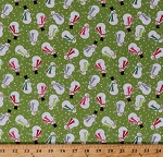 Cotton Snowmen Joyful Snowman on Green Holiday Winter Christmas Festive Let It Snow Cotton Fabric Print by the Yard (04583-43)