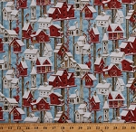 Cotton Birdhouses Bird Feeders Winter Birds Cardinals Chickadees Nature Sheltering Snowman Cotton Fabric Print by the Yard (1301-81)
