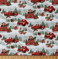 Cotton Red Trucks Christmas Tree Farm Trees Presents Gifts Dogs Winter Holiday Quotes Home For Christmas Cotton Fabric Print by the Yard (69123-A620715)