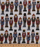 Cotton Nutcrackers Allover on White Festive Christmas Holiday Candy Cane Lane Cotton Fabric Print by the Yard (R7661-307-SNOW GOLD)
