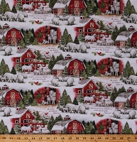 Cotton Sheep Lambs Winter Red Barns Farm Country Scene Psalm 23 Scripture Verses The Lord is my Shepherd Cardinals Snow Holiday Cotton Fabric Print by the Yard (68854-A620715)