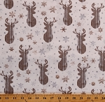 Cotton Deer Silhouettes Winter Snowflakes Northwoods Christmas Gold Silver Cream Cotton Fabric Print by the Yard (HOLIDAY-C7475-CREAM)