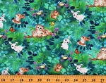 Cotton Woodland Animals Bunny Bunnies Owls Chipmunks Butterfly Butterflies Birds Flowers Multicolor Cotton Fabric Print by the Yard (5540-67)
