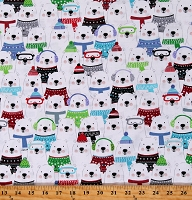 Cotton Polar Bears All Over Cute Winter Snow Place Like Home White Cotton Fabric Print by the Yard (09865-99)