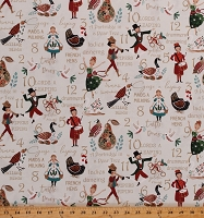 Cotton 12 Days of Christmas Holiday Christmas Carol Cotton Fabric Print by the Yard (DP23455)