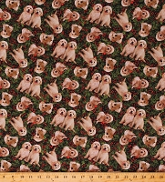 Cotton Puppies Pine Trees Christmas Cotton Fabric Print by the Yard (DP23540-76)