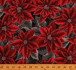 Cotton Christmas Poinsettias Holiday Red Floral Flowers Cotton Fabric Print by the Yard (S7702-113onyx)