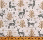 Cotton Christmas Holiday Reindeer Snowflakes Cream Cotton Fabric Print by the Yard (HOLIDAY-C7474-CREAM)
