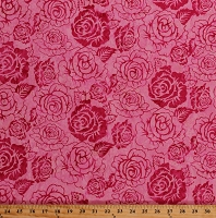 Cotton Batik Roses Rose Flowers Floral Spring Botanical Garden Pink Cotton Fabric Print by the Yard (K2492-337-SHIRLEY)