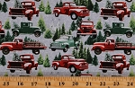 Cotton Red and Green Trucks Christmas Tree Farm Trees Winter Snow The Tradition Continues Multicolor Cotton Fabric Print by the Yard (9101-98)