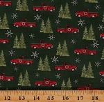 Cotton Red Trucks Christmas Trees Winter Snowflakes Homegrown Holidays Green Cotton Fabric Print by the Yard (19942-15)