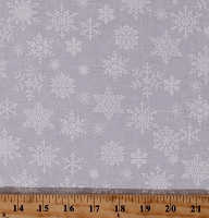 Cotton Winter Snow Christmas White Snowflakes on White Cotton Fabric Print by the Yard (9165T-11D)