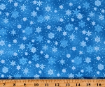 Cotton Snowflakes Winter Flurries Blizzard Snow Blue Cotton Fabric Print by the Yard (532BLUE)