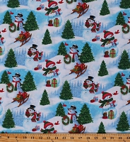 Cotton Snowmen Winter Holidays Christmas Snow Snowflakes Sleds Frosty Friends Blue Cotton Fabric Print by the Yard (1649-27681-B)