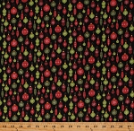 Cotton Red and Green Ornaments on Black Christmas Winter Holidays Cotton Fabric Print by the Yard (10310-12)