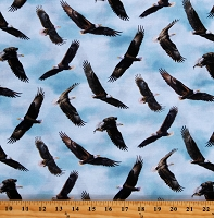 Cotton Bald Eagles Flying Soaring Animals Birds Spirit of the Skies Blue Cotton Fabric Print by the Yard (DP23802-42PALEBLUEMULTI)