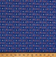 Cotton America Words All Over Script Patriotic America the Beautiful Blue Cotton Fabric Print by the Yard (19983-14)