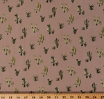 Soft Knit Cactus Succulents Botanical Green and Yellow Plants on Tan 58