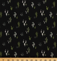 Soft Knit Cactus Succulents Botanical Green and Yellow Plants on Black 58