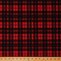 Matte' Jersey Bright Red and Black Plaid 60