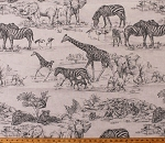 African Safari Wild Animals Sketches Tigers Elephants Zebras Giraffes Bone/Gray 52