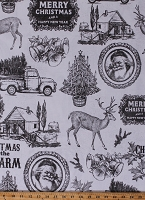 Home Decor Duck Fabric Nostalgic Christmas Santa Claus Pine Trees Barns Bells Reindeer Old Trucks Cabin Holiday Motif on Winter White 46
