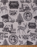 Home Decor Duck Fabric Nostalgic Christmas Santa Claus Pine Trees Barns Bells Reindeer Old Trucks Cabin Holiday Motif on Cream 46